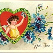 Vintage Post Card Tucks Valentine Greetings Cupid with Blue Corn Flowers