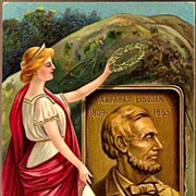 Vintage Post Card Patriotic Artist Signed Lady Liberty with Abraham Lincoln
