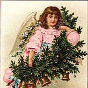 Vintage Post Card Christmas Greeting Angel in Pink with Bells
