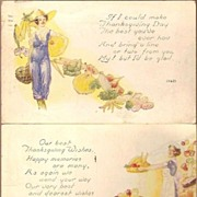Vintage Post Cards (2) Thanksgiving Greetings Ladies with Harvest Veggies