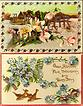 Vintage Post Cards (2) New Years Greetings Birds, Church and Flowers
