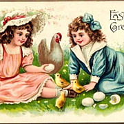 Vintage Post Card ASB Easter Greetings Girls with Chicks