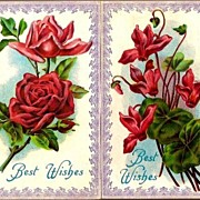 Vintage Post Cards (2) Greetings Roses and Cyclamen