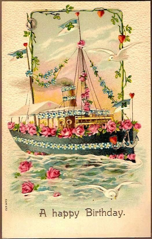 Vintage Post Card Birthday Greetings Forget-mt-not Ship with Doves