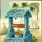 Vintage Post Card Birthday Greetings Forget-me-not Wishing Well