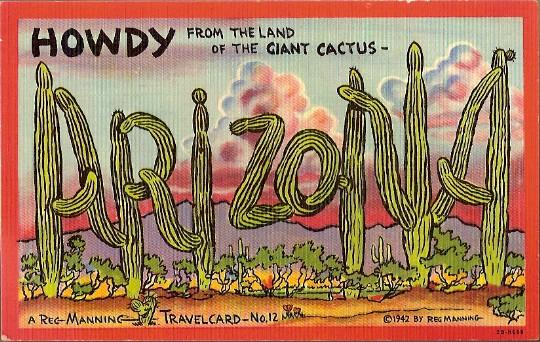 Vintage Post Card Western Art Large Letter Greeting Arizona