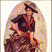 REDUCED Vintage Post Card Western Art Cowgirl with Pistol and Rifle