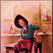 REDUCED Vintage Post Card Western Art Cowgirl in Hat with Pistol