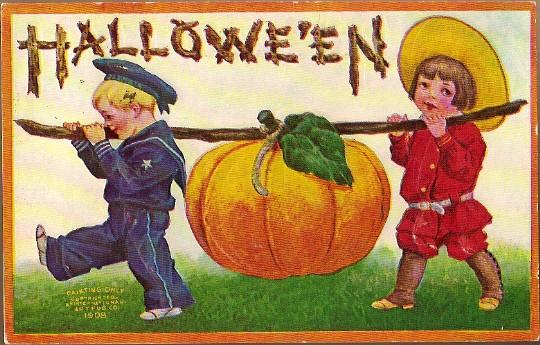 Vintage Post Card Halloween Greetings Boy and Girl with Pumpkin