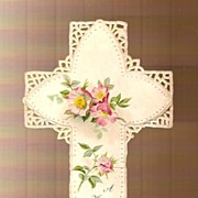 Victorian Die-cut Scrap Easter Greeting Religious Cross with Wild Roses