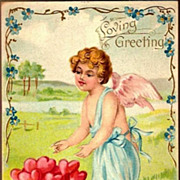 REDUCED Vintage Post Card Valentine Greetings Cherub with Hearts and Forget-me-nots