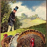 Vintage Post Card Patriotic Thanksgiving Greetings President Abraham Lincoln with Turkey's