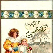REDUCED Vintage Post Card Easter Greetings Children with Chicks