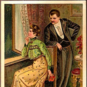 REDUCED Vintage Post Card Romance Greetings Victorian Style Couple with St. Bernard Dog