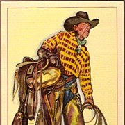 SOLD Vintage Post Card Artist Signed Western Cowboy with Hat and Saddle