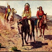 Vintage Post Card Western American Indians on Horseback