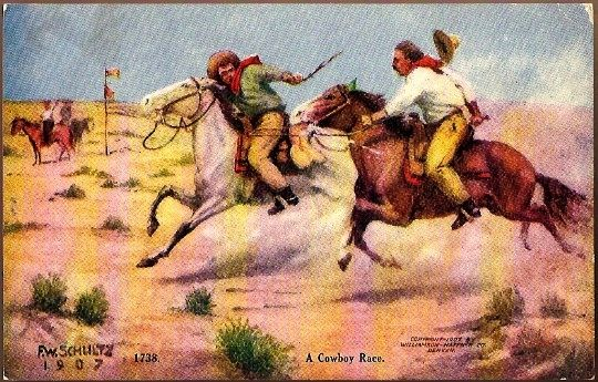 Vintage Post Card Artist Signed Western Cowboy's with Horses
