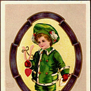 REDUCED Vintage Post Card Artist Signed Valentine Greetings Boy in Green