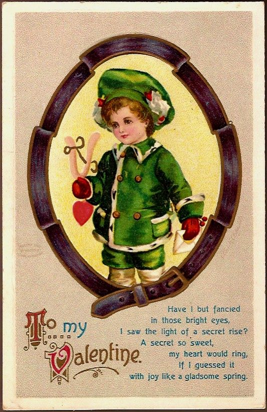 Vintage Post Card Artist Signed Valentine Greetings Boy in Green