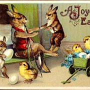 REDUCED Vintage Post Card Easter Greetings Dressed Rabbits and Chicks