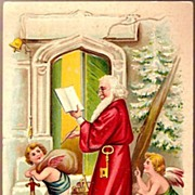 Vintage Post Card Christmas Greetings Santa with Cherubs