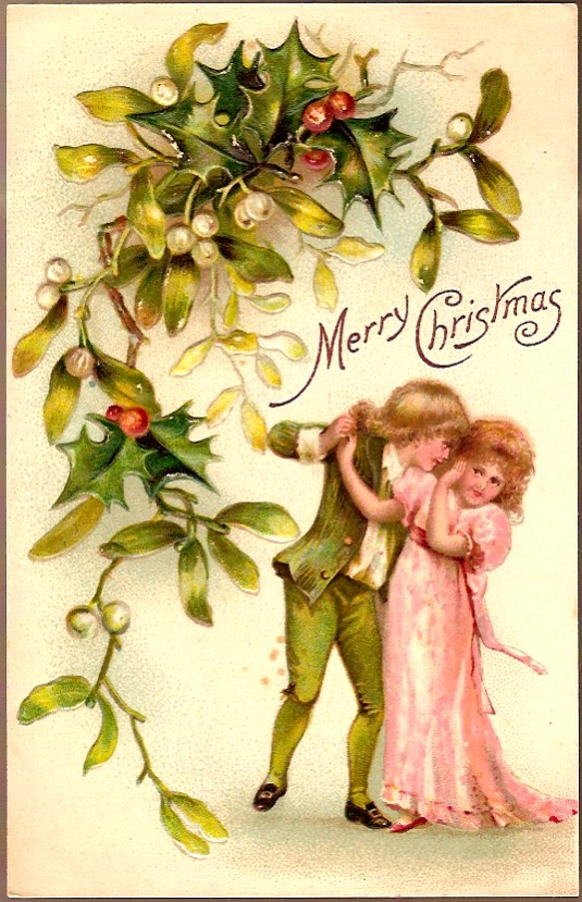 Vintage Post Card Christmas Greetings Children with Holly and Mistletoe