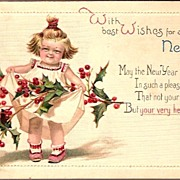 Vintage Post Card Winsch New Year Greetings Girl with Holly