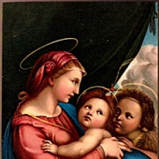 SOLD Vintage Post Card Artist Signed Religious Mary with Jesus and John
