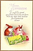 Vintage Post Card Easter Greetings Rabbits with Green Box
