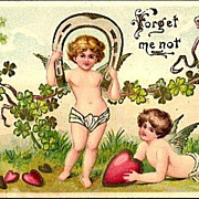 Vintage Post Card Valentine Greetings Cherubs with Hearts and Shamrocks
