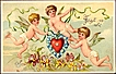 Vintage Post Card Valentine Greetings Cherubs with Heart, Violets and Forget-me-nots