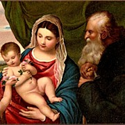 SOLD Vintage Post Card Religious Art Mary with Jesus and John
