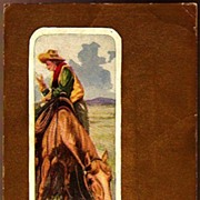 Vintage Post Card Western Art Cowboy, Horse and Verse