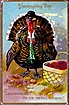 Vintage Post Card Tucks Thanksgiving Greetings Dressed Turkey in Hat