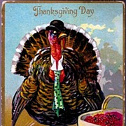 REDUCED Vintage Post Card Tucks Thanksgiving Greetings Dressed Turkey in Hat