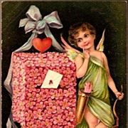 REDUCED Vintage Post Card PFB Valentine Greetings Cupid with Red Heart and Pink Flower Mailbox