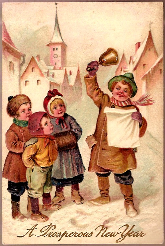 Vintage Post Card PFB New Year Greetings Children in Village