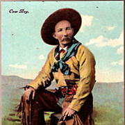 Vintage Post Card Western Photo Print Handsome Cowboy