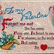 REDUCED Vintage Post Card Valentine Greetings Cherubs with Forget-me-nots