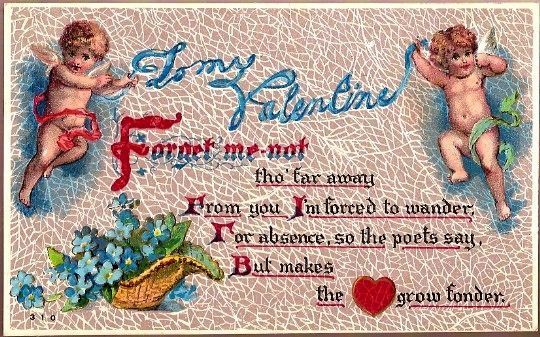 Vintage Post Card Valentine Greetings Cherubs with Forget-me-nots