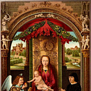 Vintage Post Card Religious Artist Signed The Madonna with The Christ Child and Angel