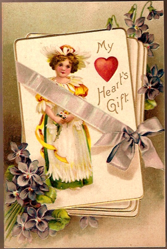Vintage Post Card Valentine Greetings Flower Girl with Violets