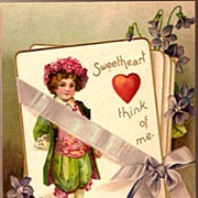 Vintage Post Card Valentine Greetings Flower Boy with Violets