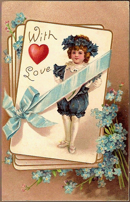 Vintage Post Card Valentine Greetings Boy with Ribbon and Flowers