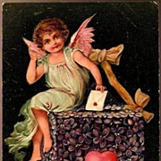 REDUCED Vintage Post Card PFB Valentine Greetings Cherub with Flower Mailbox