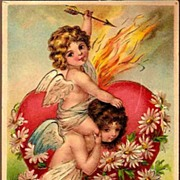 Vintage Post Card Valentine Greetings Cupids with Heart and Flowers