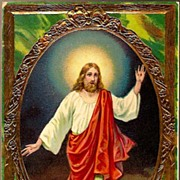 Vintage Post Cards Easter Greetings Jesus with Halo (2)