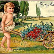 Vintage Post Card Valentine Greetings Cupid with Hearts