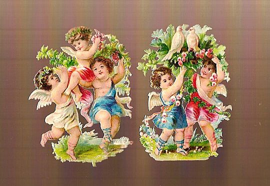 Vintage Victorian Die Cuts (2) Cherubs with Flowers and Doves