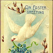 Vintage Post Card Easter Greetings Dove with Pussy-willows and Forget-me-nots